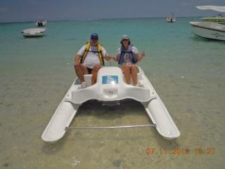 Trettbootfahren zum Riff hinaus