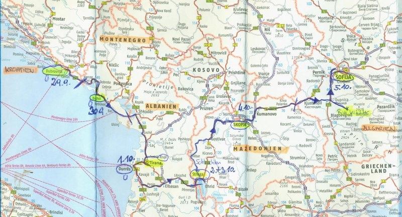 Balkanreise - Route