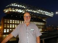 2016 08 15 Antwerpen Neues Hafengebäude bei Nacht Architektin Hadi
