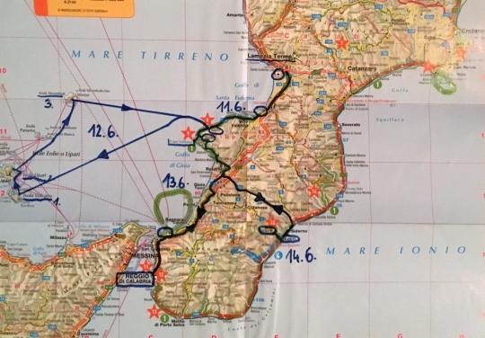 Route bei dieser Reise