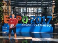2017 08 27 Astana EXPO Eingang zur größten selbsttragenden Kugel der Welt FC Bayern