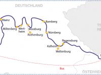 Flusskreuzfahrt August 2017 Route