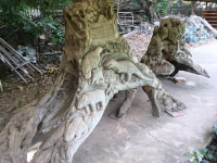 2017 11 08 Vientiane Tempel Wat Ho Phra Keo Tolle Kunstwerke aus Baumwurzeln