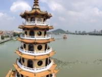 2018 09 28 Kaoshiung Blick von Drachen und Tigerpagode auf den Lotussee