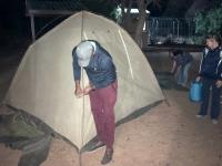 2018 10 22 Zelt am Hotelparkplatz Kang Ultra Stopp für unsere Camper