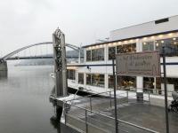 Schiff mit Donaubrücke