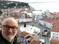 2018 12 31 Piran Blick vom Turm der Kirche auf den Tartini Square