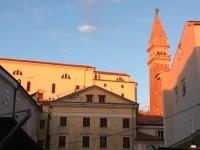 2018 12 31 Piran Turm der Kirche des Hl. Georg im  Sonnenuntergang