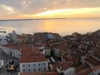 2018 12 31 Piran Blick vom Turm der Kirche des Hl. Georg mit Sonnenuntergang