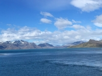2019 03 10 Blick von Grytviken mit Kriegsschiff der  UK Marine