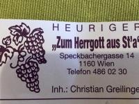 Greilinger Heuriger Zum Herrgott aus Sta Wien Ottakring