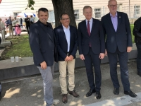 2019 07 12 Ehrenamtstag Land OÖ Linzer Landhaus LH Stelzer mit ASVOÖ Vizepräsidenten Handyfoto