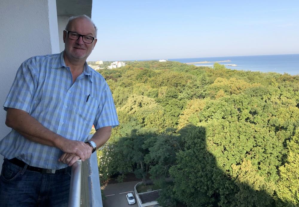 2019 08 23 Kolberg Blick vom Hotelbalkon auf Ostsee
