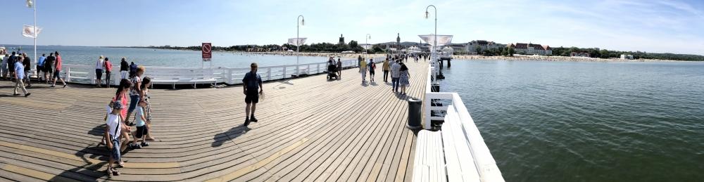 2019 08 23 Sopot Blick von der langen Pier Richtung Stadt