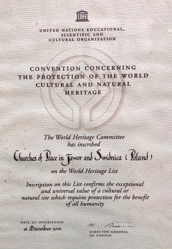 2019 08 20 Jawor Unesco Friedenskirche Tafel 1