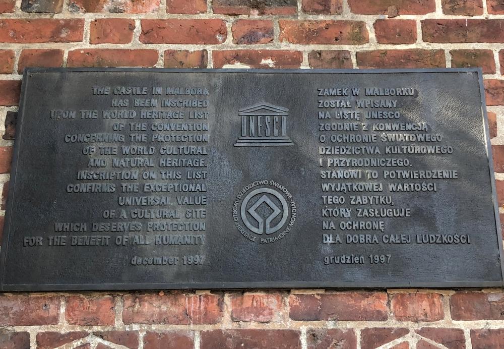 2019 08 24 Marienburg Unesco Tafel 1