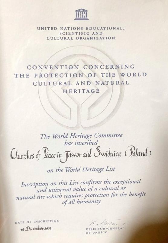 Swidnica Friedenskirche Unesco Tafel 1