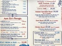 Speisekarte im Restaurant