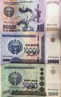 Usbekische Währung SOM grosse Scheine Vorderseite
