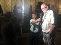 2019 09 28 Samarkand Registanplatz Lichtershow Interview für Fernsehen