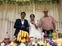 2019 09 29 Samarkand Brautpaar der Hochzeitsfeier