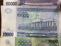 Usbekische Währung SOM grosse Scheine Rückseite