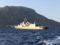 2020 09 09 Bootsfahrt nach Saria Patroille der griechischen Marine im Hafen von Pigadia
