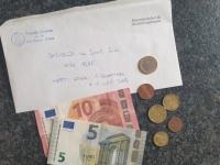 Inhalt Zeitkapsel Bargeld aus dem Jahre 2020 entnommen aus der Handkassa der Gaststube des Turnerheimes Wert etwa 1 Wiener Schnitzel und 1 Bier