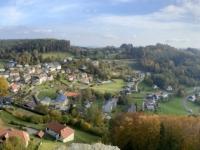 2020 10 23 Waxenberg Burgruine Blick auf den Ort