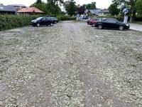 Parkplatz in Gmunden nach großem Unwetter am Vortag