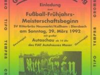 1992 03 29 Folder Fussball Meisterschaftsbeginn Neumarkt