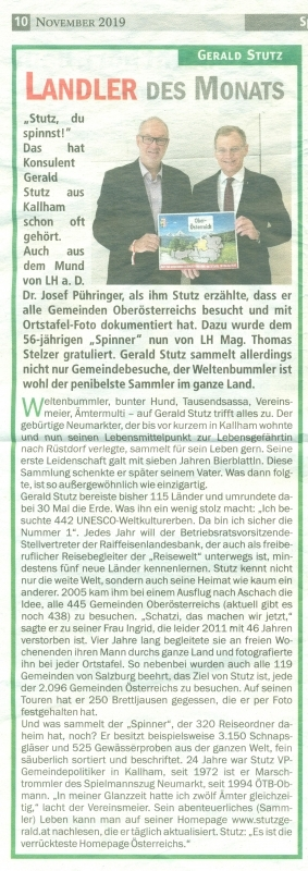 2019 11 05 Hallo Landl Landler des Monats Weltenbummler mit LH Stelzer