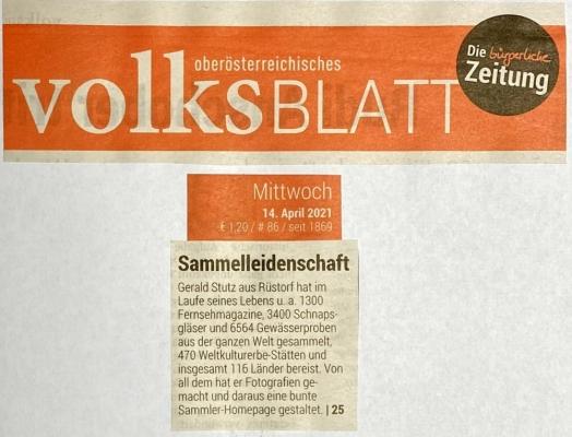2021 04 14 Volksblatt Titelseite Fernsehprogramme Sammlung