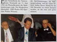 1992 06 30 ASVOÖ Zeitung SZ Wunschkonzert mit ORF OÖ Moderator Walter Witzany