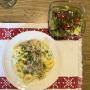 2020 05 13 AE Tortellini mit Schinken Spargelsouce und gem Salat