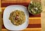 2020 12 22 Kürbisrisotto mit Eierschwammerl und Blattsalaten
