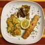 2021 02 23 Seelachsfilet Alaska mit Gemüseauflauf und Kartoffelspalten