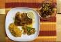 2021 03 11 Lachsfilet in der Kräuterkruste mit Süßkartoffelpüree und Gemüse sowie gemischten Salat