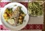 2021 03 28 Forellenfilet mit Ofenkartofferl Gemüse und Endiviensalat