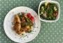 2021 04 01 Hühnerflügerl und Haxerl mit Gemüse Quinoa und gemischten Salat