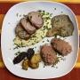 2021 04 21 Schweinefilet in Weißwein Pilzsauce mit gebratenen Austernpilzen sowie pinker Reis und Ofenkartofferl