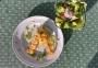 2021 04 24 Garnelenspieß mit Safran Gemüsereis und gemischten Salat