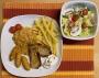 2021 05 14 Zigeunerschnitzel mit Kroketten Pommes Frites und Blattsalat