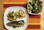 2021 06 06 Regenbogenforelle mit Kohlrabi Karottengemüse sowie Rosmarinkartoffel und Spargel-Blattsalat