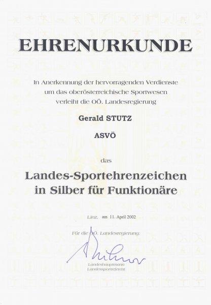 2002 04 11 Landessportehrenzeichen des Landes OÖ in Silber