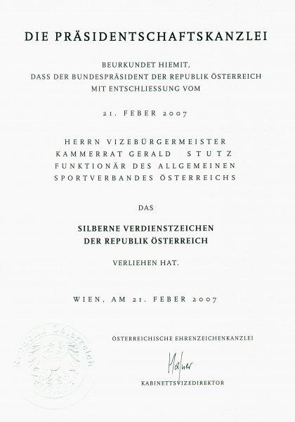 2007 04 14 Silbernes Verdienstzeichen der Republik Österreich_Schreiben vom Bundespräsident