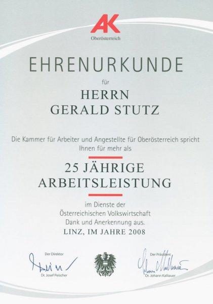 2008 06 25 Ehrenurkunde der Arbeiterkammer OÖ für 25 Jahre RLB OÖ