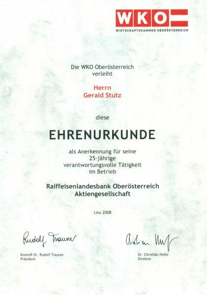 2008 07 07 Ehrenurkunde der Wirtschaftskammer OÖ für 25 Jahre RLB OÖ