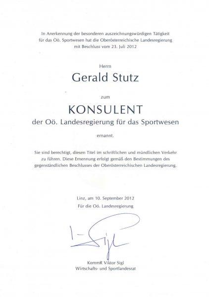 2012 09 10 Konsulent der OÖ Landesregierung für Sportwesen
