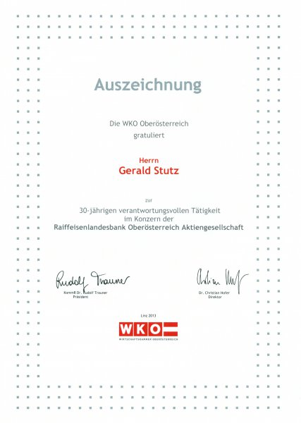 2013 06 03 Ehrenurkunde der Wirtschaftskammer OÖ für 30 Jahre RLB OÖ